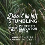 Don't be Left Stumbling…Create the Perfect Elevator Pitch and Don't be Afraid to Use It!