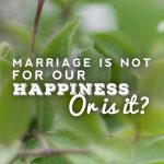 Marriage Is Not For Our Happiness; Or is It?